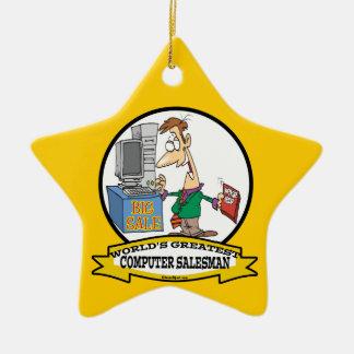 WORLDS GREATEST COMPUTER SALESMAN CARTOON CHRISTMAS TREE ORNAMENT