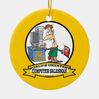 WORLDS GREATEST COMPUTER SALESMAN CARTOON CHRISTMAS ORNAMENT