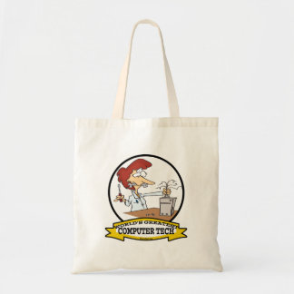 WORLDS GREATEST COMPUTER TECH WOMEN CARTOON BUDGET TOTE BAG