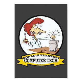 WORLDS GREATEST COMPUTER TECH WOMEN CARTOON PERSONALIZED ANNOUNCEMENT