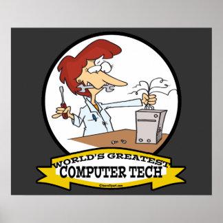 WORLDS GREATEST COMPUTER TECH WOMEN CARTOON POSTER