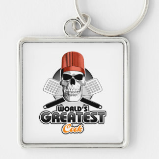 World's Greatest Cook v1 Silver-Colored Square Keychain