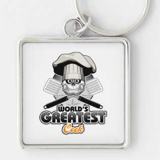 World's Greatest Cook v2 Silver-Colored Square Keychain