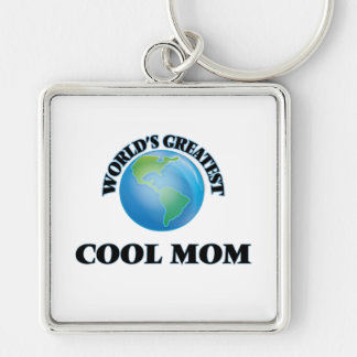 World's Greatest Cool Mom Silver-Colored Square Keychain