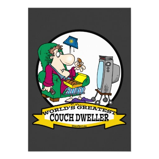 WORLDS GREATEST COUCH DWELLER CARTOON PERSONALIZED INVITE