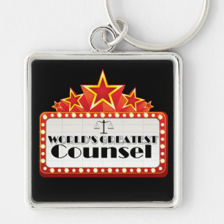 World's Greatest Counsel Silver-Colored Square Keychain