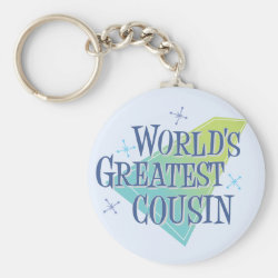 Basic Button Keychain with World's Greatest Cousin design