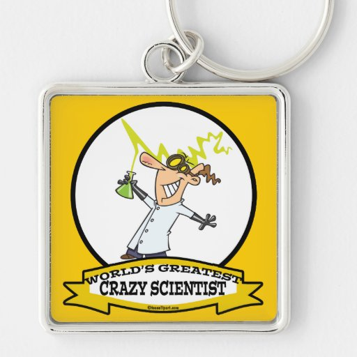 WORLDS GREATEST CRAZY SCIENTIST CARTOON Silver-Colored SQUARE KEYCHAIN