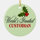 World's Greatest Custodian Double-Sided Ceramic Round Christmas Ornament