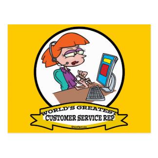 WORLDS GREATEST CUSTOMER SERVICE REP CARTOON POSTCARD