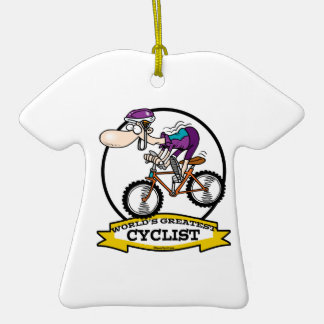 WORLDS GREATEST CYCLIST MEN CARTOON CHRISTMAS ORNAMENT