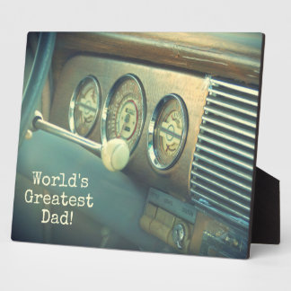 World's Greatest Dad Antique Car Plaque w/ Easel