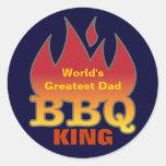 World's Greatest Dad BBQ KING Classic Round Sticker