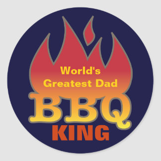 World's Greatest Dad BBQ KING Classic Round Sticker
