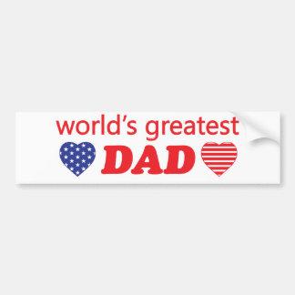 WORLDS GREATEST DAD. CUSTOMIZABLE BACKGROUND BUMPER STICKER