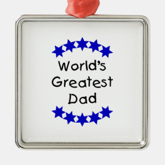 World's Greatest Dad (dk. blue stars) Christmas Tree Ornaments
