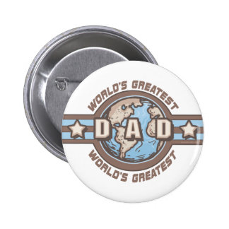 World's Greatest Dad Earth Logo T-shirts Gifts Button