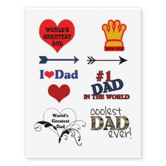 World's Greatest Dad   Father's Day Temporary Tattoos