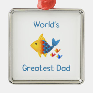 World's Greatest Dad (fish) Christmas Ornaments