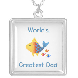World's Greatest Dad (fish) Square Pendant Necklace