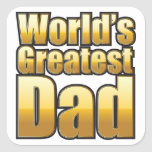 World's Greatest Dad (gold) Square Stickers