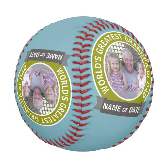 World's Greatest Dad Grandpa Custom Photo Template Baseball