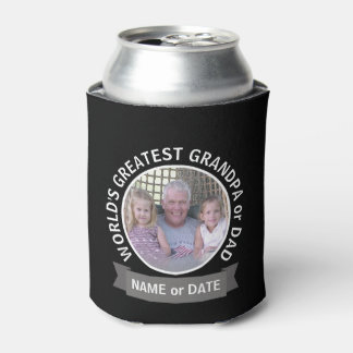 World's Greatest Dad Grandpa Custom Photo Template Can Cooler