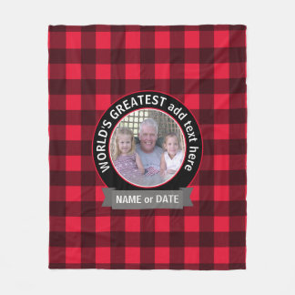 World's Greatest Dad Grandpa Custom Photo Template Fleece Blanket