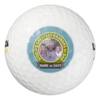 World's Greatest Dad Grandpa Custom Photo Template Golf Balls