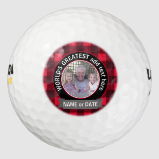 World's Greatest Dad Grandpa Custom Photo Template Golf Balls