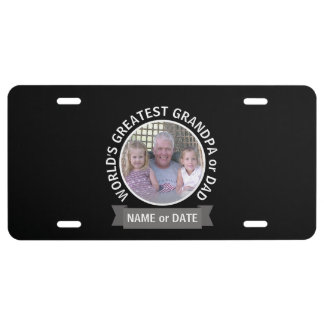 World's Greatest Dad Grandpa Custom Photo Template License Plate