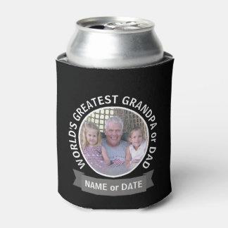 World's Greatest Dad Grandpa Custom Photo Template Can Cooler