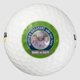 World's Greatest Dad Grandpa Photo green navy Golf Balls