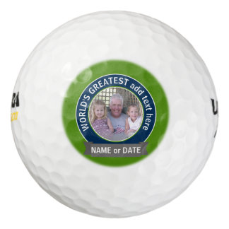 World's Greatest Dad Grandpa Photo green navy Golf Balls