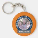 World's Greatest Dad Grandpa Photo orange blue Basic Round Button Keychain