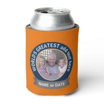 World's Greatest Dad Grandpa Photo orange blue Can Cooler