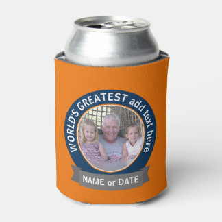 World's Greatest Dad Grandpa Photo orange blue Can Cooler
