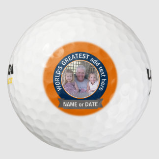 World's Greatest Dad Grandpa Photo orange blue Golf Balls