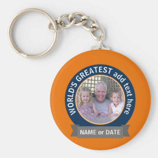 World's Greatest Dad Grandpa Photo orange blue Keychain