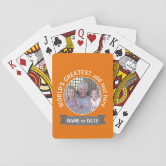 World's Greatest Dad Grandpa Photo orange gray Playing Cards