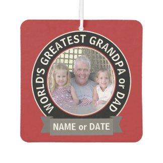 World's Greatest Dad Grandpa Photo red black Car Air Freshener