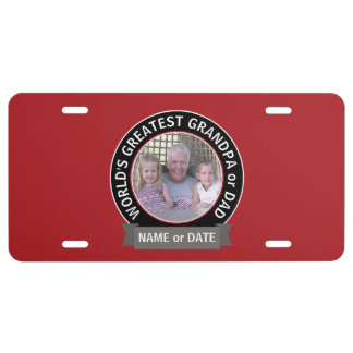 World's Greatest Dad Grandpa Photo red black License Plate