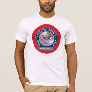 World's Greatest Dad Grandpa Photo red white blue T-Shirt