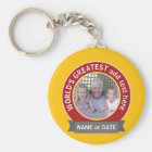 World's Greatest Dad Grandpa Photo red yellow Keychain