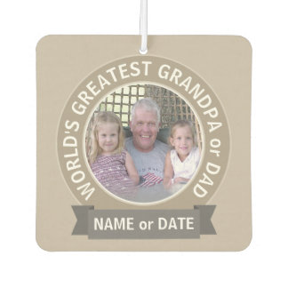 World's Greatest Dad Grandpa Photo Template green Air Freshener