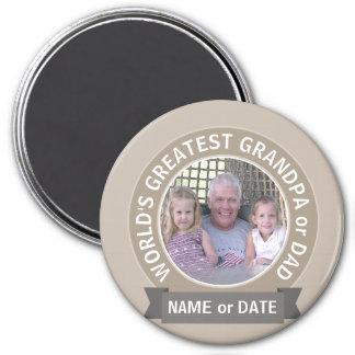 World's Greatest Dad Grandpa Photo Template green Magnet