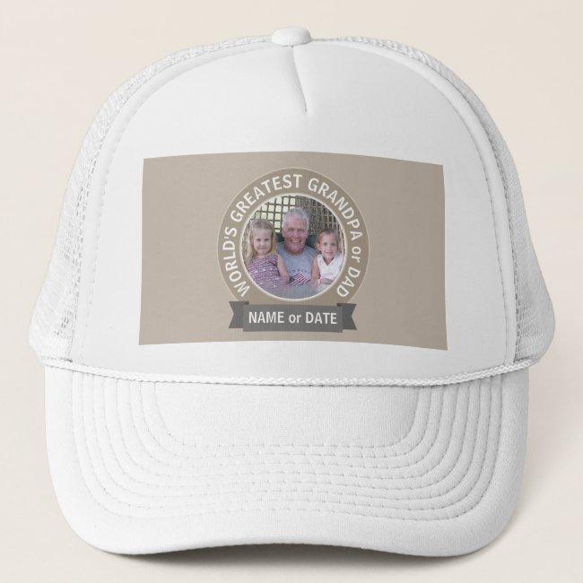 World's Greatest Dad Grandpa Photo Template green Trucker Hat
