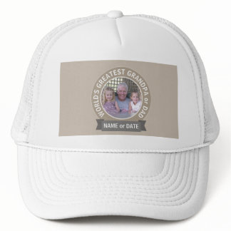 World's Greatest Dad Grandpa Photo Template green Trucker Hat