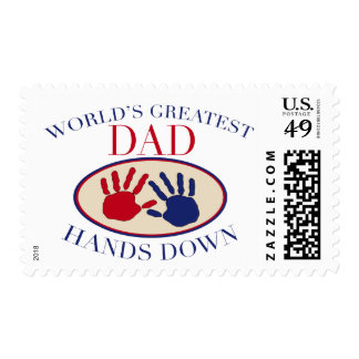World's Greatest Dad Hands Down Postage Stamps