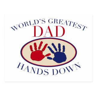 World's Greatest Dad Hands Down Postcard